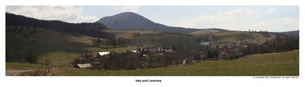 Izby - panormama. W tle góra Lackowa. fot. 2015r.