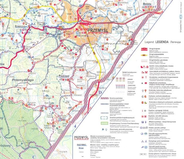 fragment mapy Pogórza Przemyskiego (wyd. BIK, opr. Fundacja Dziedzictwo Przyrodnicze) wydanej w ramach projektu promującego województwo EXPLORE PRZEMYSKIE.COM